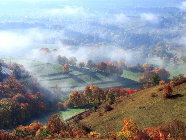 Nebel über dem Saaletal