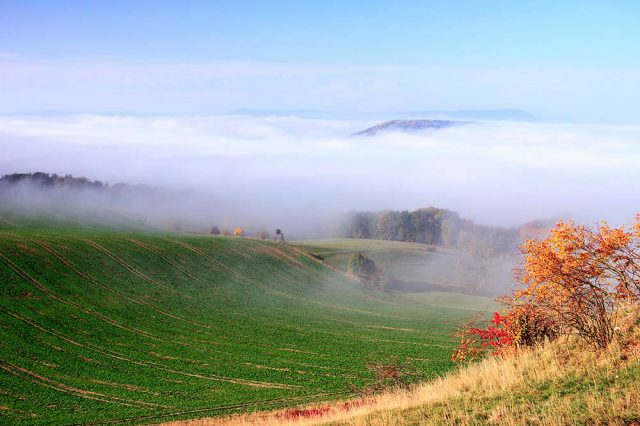 Nebelschwaden im Saaletal